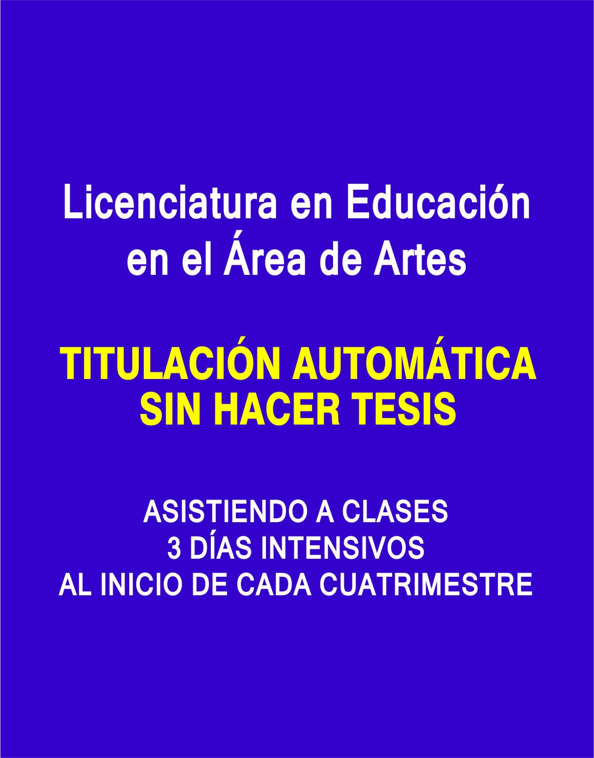 RVOE oficial: Licenciatura en Educación en el Área de Artes