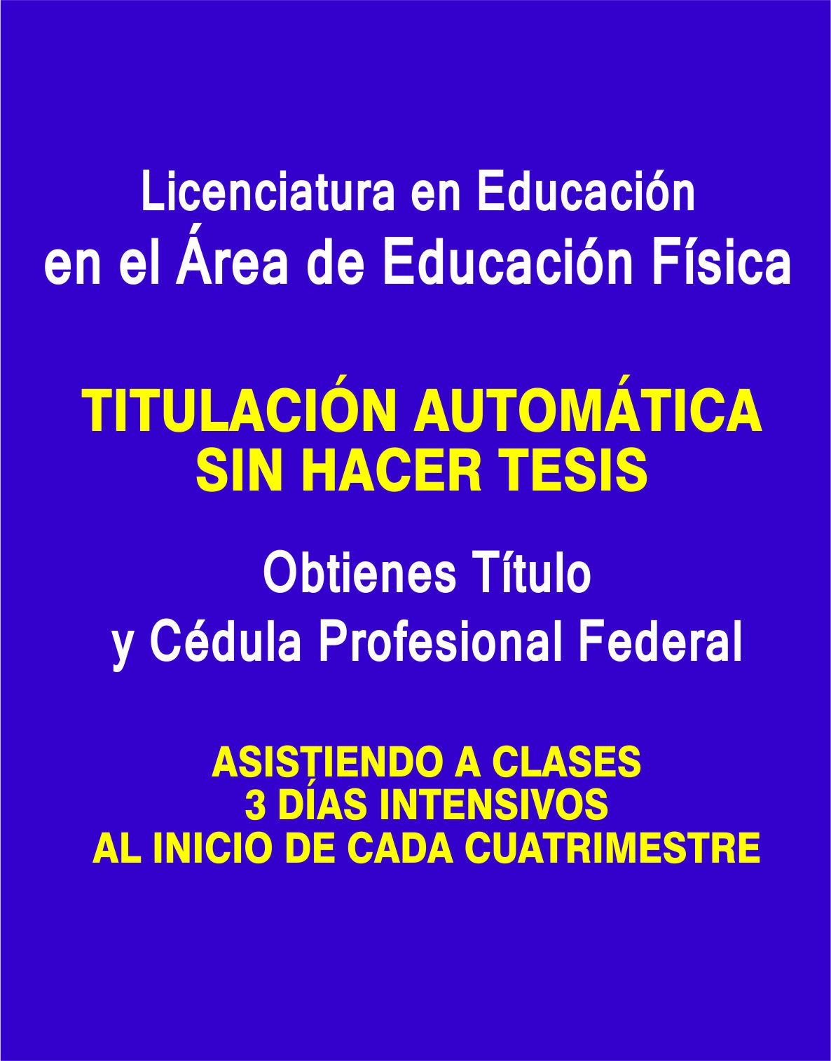 RVOE oficial: Licenciatura en Educación en el Área de Educación Física