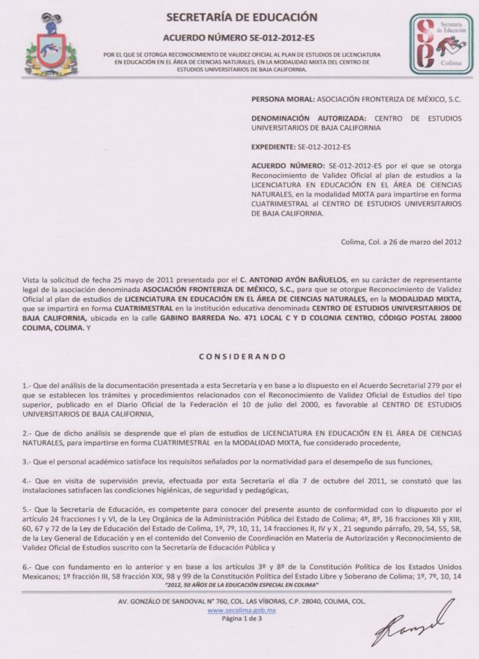 RVOE oficial: Licenciatura en Educación en el Área de Ciencias Naturales