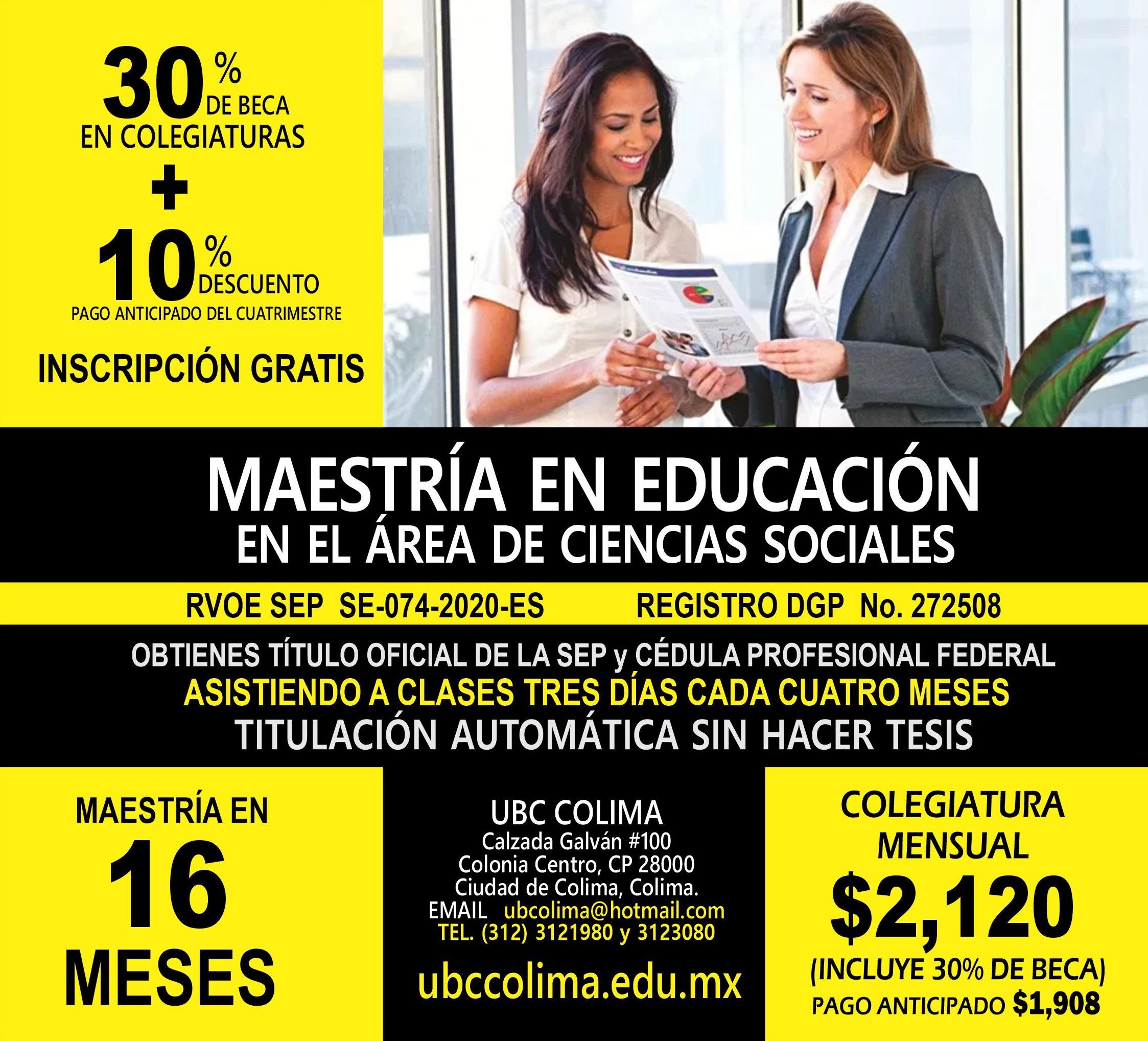 RVOE oficial: Maestría en Educación en el Área de Ciencias Sociales