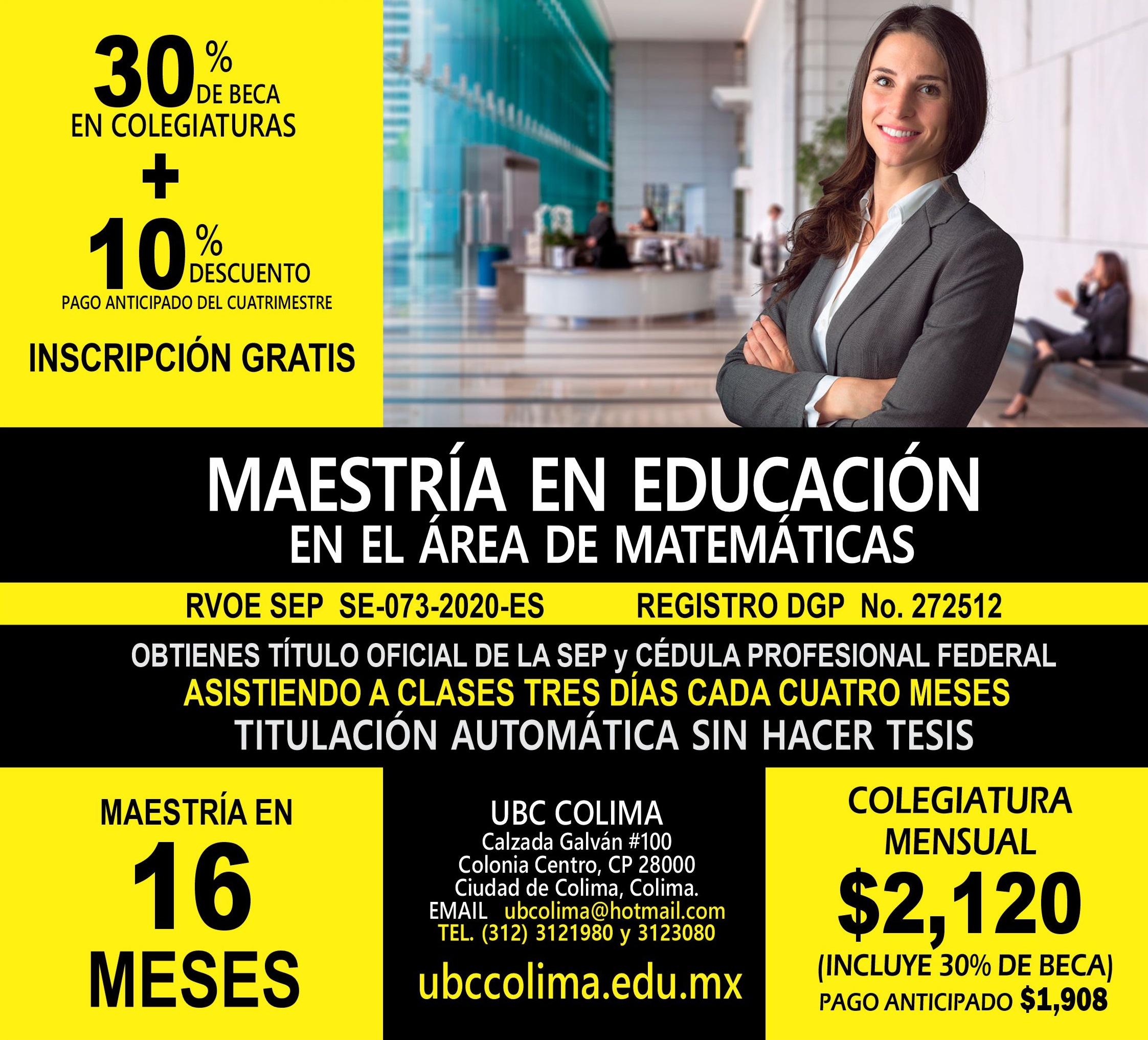 RVOE oficial: Maestría en Educación en el Área de Matemáticas
