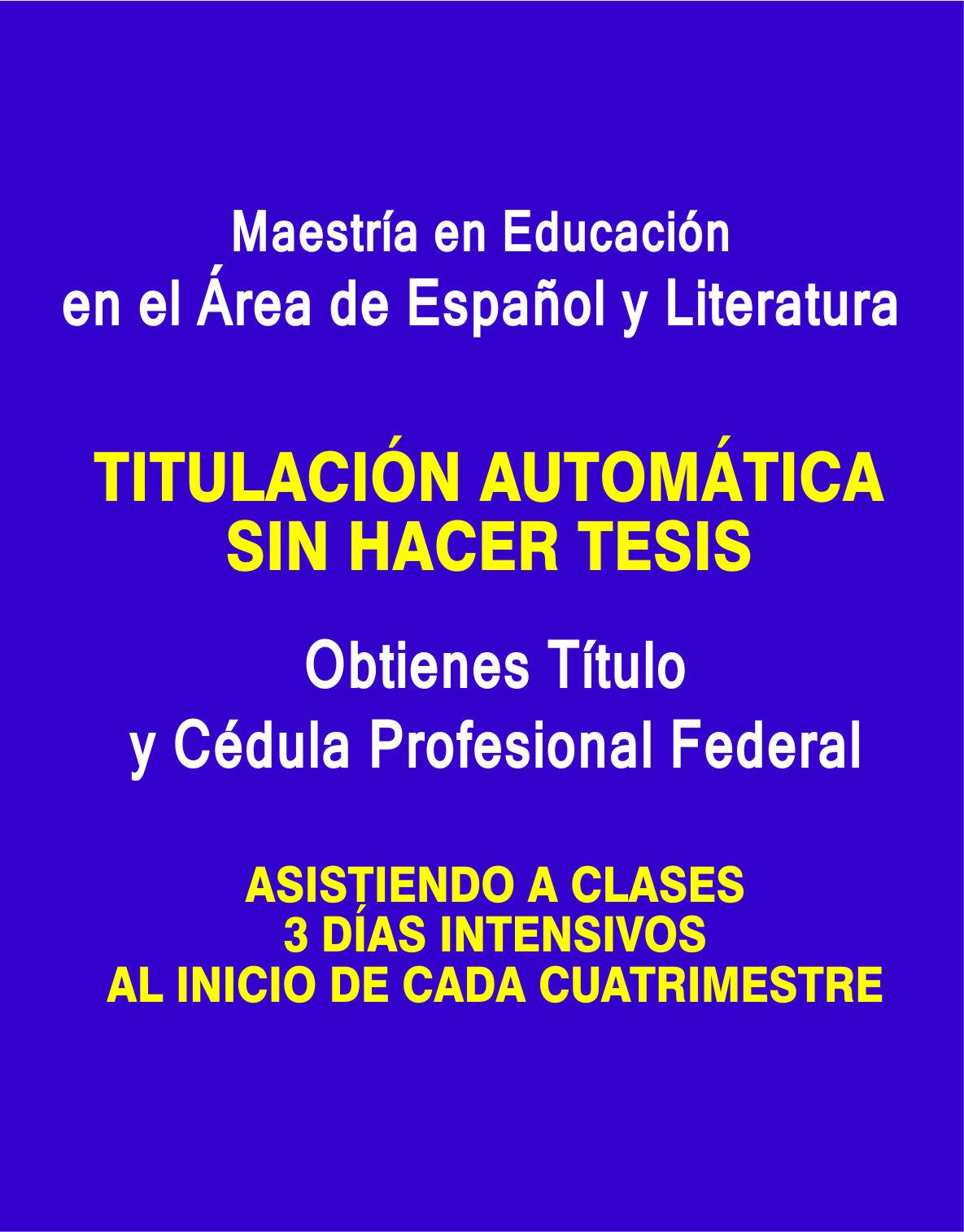 RVOE oficial: Maestría en Educación en el Área de Español y Literatura
