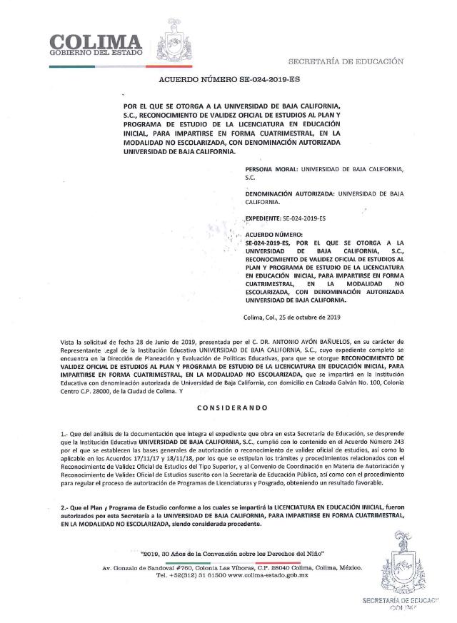 RVOE oficial: Licenciatura en Educación Inicial