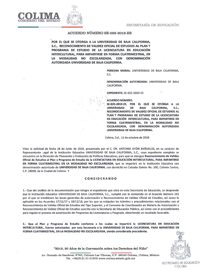 RVOE oficial: Licenciatura en Educación Intercultural