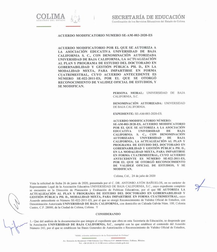 RVOE oficial: Doctorado en Gobernabilidad y Gestión Pública, Ph. D.